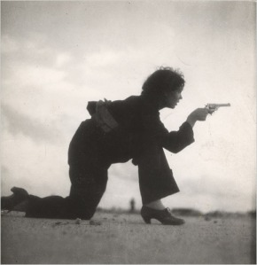 One of Taro's most famous photographs.  A woman in Barcelona, Spain, training for the Republican militia, 1936.